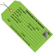"""Pre-Wired 2-Part Numbered """"Repairable or Rework"""" Inspection Tags (000-499), Green, 4 3/4 x 2 3/8"""""""