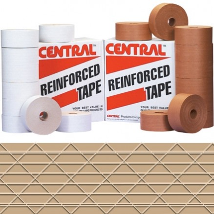 "Central® Industrial Water Activated Kraft Sealing Tape, 3"" x 375"