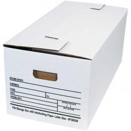 Interlocking Flap File Storage Boxes, 24 x 12 x 10""