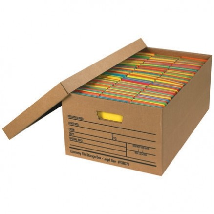 """Economy File Storage Boxes with Lid, 24 x 15 x 10"""""""