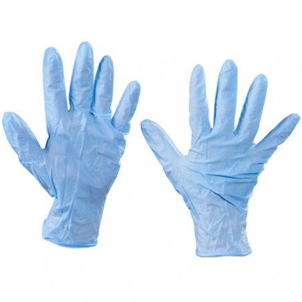 Blue Nitrile Gloves - 6 Mil - Powdered, Large