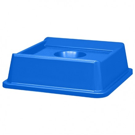 Rubbermaid® Square Recycling Container Bottle Lid - 35 and 50 Gallon, Blue