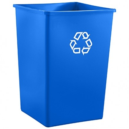 Rubbermaid® Square Recycling Container - 35 Gallon, Blue