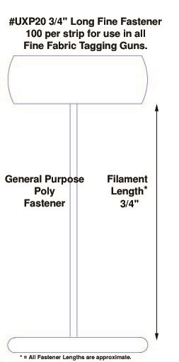 """Fine Fabric Micro-Spaced Poly Tagging Fasteners, 3/4"""""""