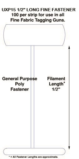 """Fine Fabric Micro-Spaced Poly Tagging Fasteners, 1/2"""""""