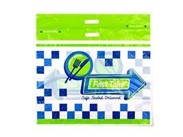 Fast Take® Tamper-Evident Printed Carryout Bag, 21 x 18 + 10 BG + 3 1/2 LP