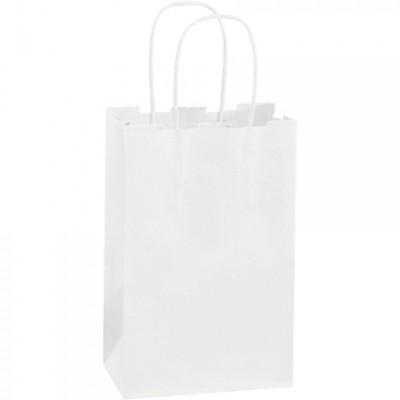 White Paper Shopping Bags, Rose - 5 1/2 x 3 1/4 x 8 3/8