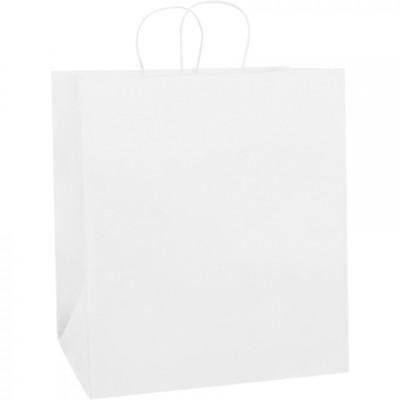 White Paper Shopping Bags, Take Out - 14 1/2 x 9 x 16 1/4