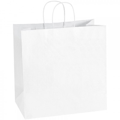 White Paper Shopping Bags, Star - 13 x 7 x 13