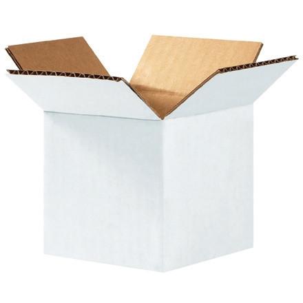 """Cajas de cartón corrugado, 4 x 4 x 4 """", blancas"""