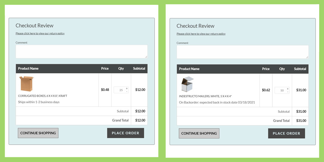 an image of packaging lead times on checkout pages