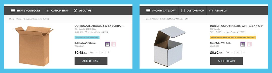 an image of packaging lead times on product pages